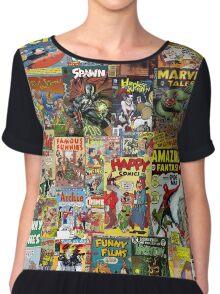 Comic Book Cover Collage Chiffon Top