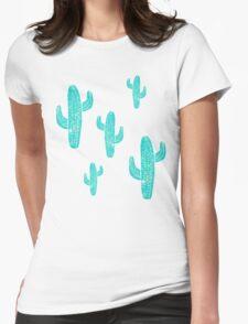 Linocut Cacti Desert Womens Fitted T-Shirt