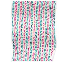 Hand Painted Herringbone Pattern in Pink & Turquoise  Poster