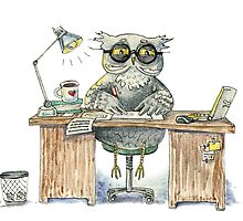 Workaholic owl by Redilion
