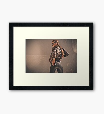 Retro Action Movie Star Framed Print