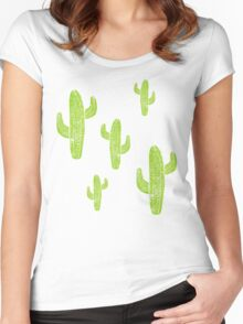 Linocut Cacti Minty Pinky Women's Fitted Scoop T-Shirt