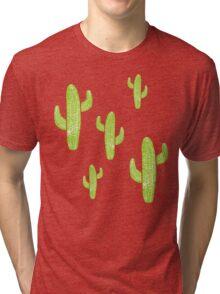 Linocut Cacti Minty Pinky Tri-blend T-Shirt