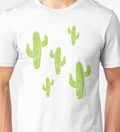 Linocut Cacti Minty Pinky Unisex T-Shirt