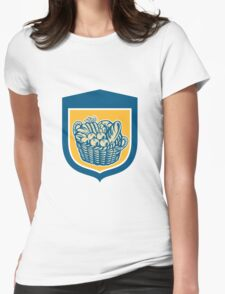 Crop Harvest Basket Shield Woodcut Womens Fitted T-Shirt