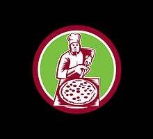 Pizza Maker Holding Pizza Peel Circle Woodcut by patrimonio
