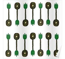 Tropical Pineapple Guitar Pattern Poster