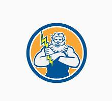 Zeus Greek God Arms Cross Thunderbolt Circle Retro Unisex T-Shirt