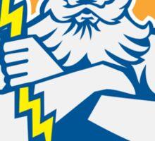 Zeus Greek God Arms Cross Thunderbolt Circle Retro Sticker