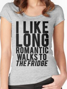 ROMANTIC WALKS TO THE FRIDGE Women's Fitted Scoop T-Shirt