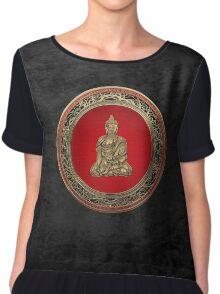 Treasure Trove - Gold Buddha on Black Velvet  Chiffon Top
