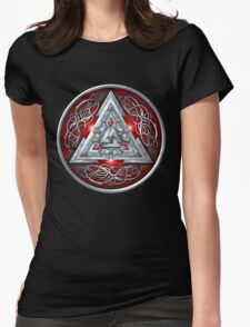 Norse Triskele Valknut Shield in Silver and Red Womens Fitted T-Shirt