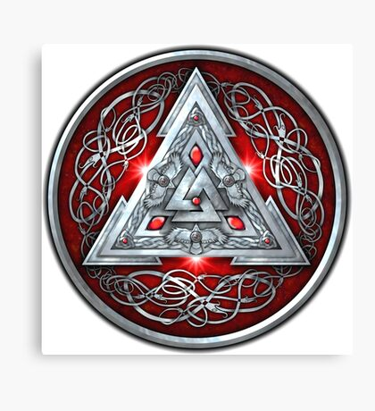 Norse Triskele Valknut Shield in Silver and Red Canvas Print
