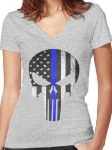 Punisher Thin Blue line Women's Fitted V-Neck T-Shirt