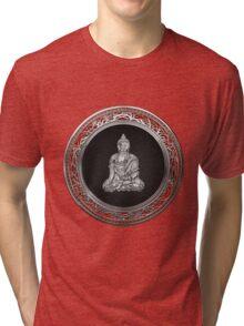 Treasure Trove - Silver Buddha on Red Velvet Tri-blend T-Shirt