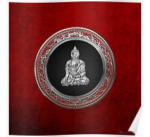 Treasure Trove - Silver Buddha on Red Velvet Poster