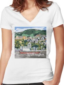 Wellington Harbour by Ira Mitchell-Kirk Women's Fitted V-Neck T-Shirt