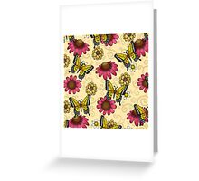 Floral Butterfly Pattern with Swallowtails Greeting Card