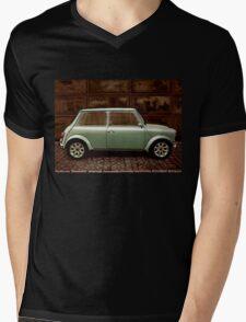 Austin Mini Cooper Mixed Media Mens V-Neck T-Shirt