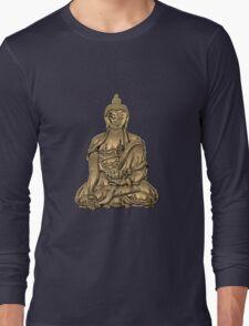 Sacred Symbols - Gold Buddha on Black and Red  Long Sleeve T-Shirt