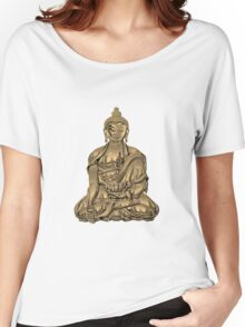 Sacred Symbols - Gold Buddha on Black and Red  Women's Relaxed Fit T-Shirt