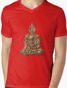 Sacred Symbols - Gold Buddha on Black and Red  Mens V-Neck T-Shirt