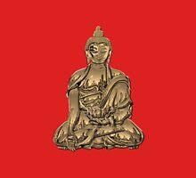 Sacred Symbols - Gold Buddha on Black and Red  Unisex T-Shirt
