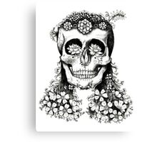 Floral Skull - Decay Canvas Print