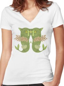Mutant Catfish Twins Collecting Starfish Women's Fitted V-Neck T-Shirt