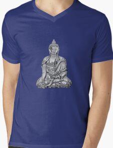 Sacred Symbols - Silver Buddha on Red and Black Mens V-Neck T-Shirt