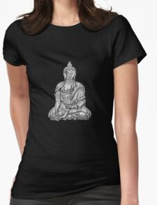 Sacred Symbols - Silver Buddha on Red and Black Womens Fitted T-Shirt