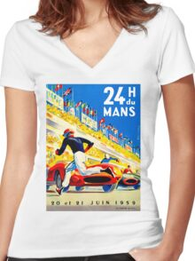 """MANS"" 24 Hour Grand Prix Auto Race Women's Fitted V-Neck T-Shirt"