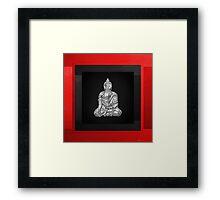 Sacred Symbols - Silver Buddha on Red and Black Framed Print