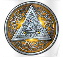 Norse Triskele Valknut Shield in Silver and Yellow Poster