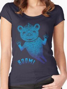 Turquoise Bear Goes Boom Women's Fitted Scoop T-Shirt