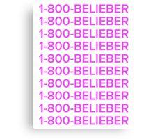 Justin bieber 1-800-BELIEBER  Canvas Print