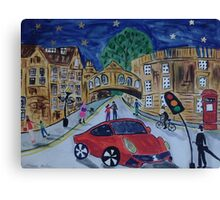 Red Ferrari by the Bridge of Sighs, Oxford Canvas Print