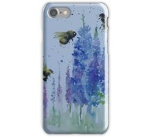 Bumble bees among delphiniums iPhone Case/Skin