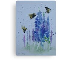 Bumble bees among delphiniums Canvas Print