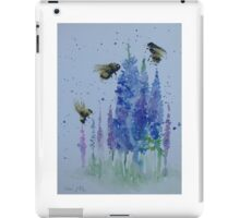 Bumble bees among delphiniums iPad Case/Skin