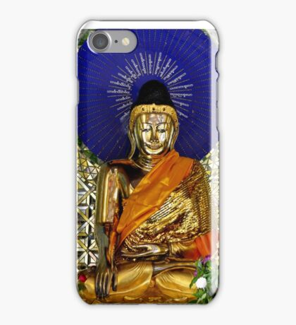 Electric Buddha statue at a temple in Bago, Myanmar iPhone Case/Skin