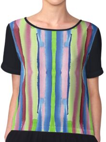 Watercolor Vertical Stripes Pattern Red Blue Green Chiffon Top
