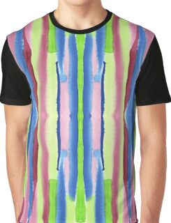 Watercolor Vertical Stripes Pattern Red Blue Green Graphic T-Shirt
