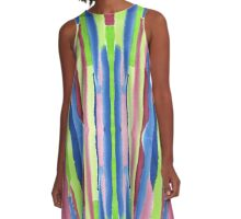 Watercolor Vertical Stripes Pattern Red Blue Green A-Line Dress