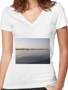 Nile River Egypt Cruise Boat Aswan Women's Fitted V-Neck T-Shirt