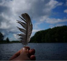 Holding Up a Feather at the Lake by Nalinne Jones