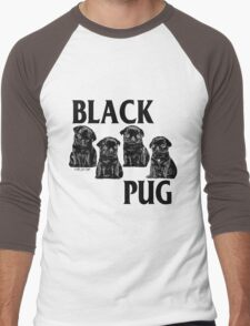 black pug Men's Baseball ¾ T-Shirt