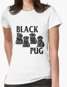 black pug Womens Fitted T-Shirt