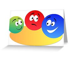Blue Red And Green Fun Colourful Smiley's Greeting Card