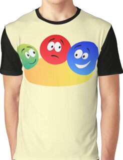 Blue Red And Green Fun Colourful Smiley's Graphic T-Shirt